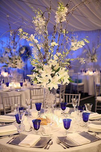 White Lilly & Branch, Orchids Centerpiece, features, cylinder vase